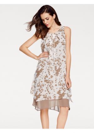 Платье ASHLEY BROOKE by Heine. Цвет: серо-коричневый/кремовый