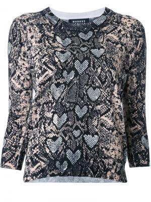 Блузка с принтом змеиной кожи Markus Lupfer. Цвет: многоцветный