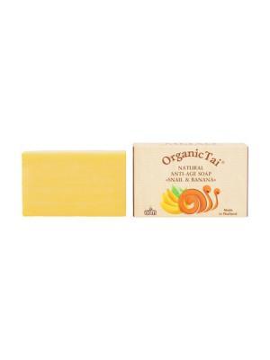 Натуральное антивозрастное мыло ЭКСТРАКТ УЛИТКИ и БАНАН, 100 г Organic Tai. Цвет: желтый