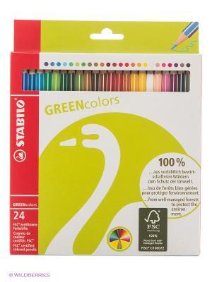 Набор цветных карандашей, 24 цвета Stabilo. Цвет: салатовый
