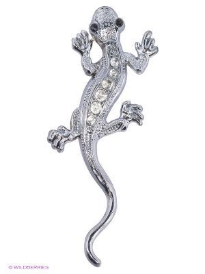 Наклейка 3D Ящерица малая серебряная стразы N5 WIIIX. Цвет: серебристый