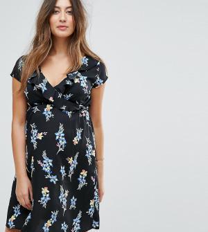 New Look Maternity Платье с цветочным принтом для беременных. Цвет: черный