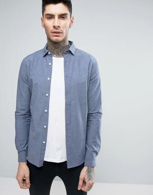 ASOS Джинсовая рубашка скинни из шамбре. Цвет: синий