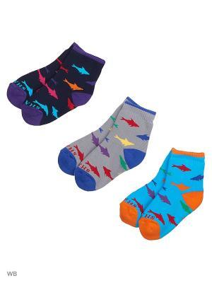 Носки, 3 пары Хох. Цвет: темно-синий, бирюзовый, серый