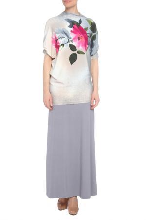 Костюм: блуза, юбка Adzhedo. Цвет: серый, бежевый, цветок, фуксия