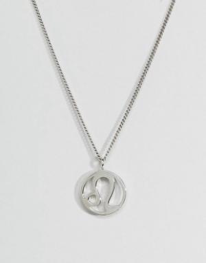 Fashionology Серебряное ожерелье со знаком зодиака Лев. Цвет: серебряный