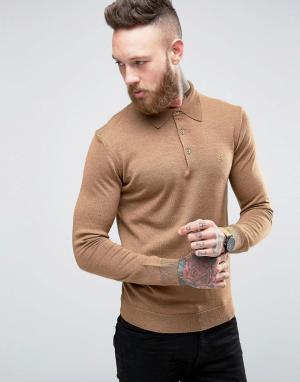 Farah Бежевая трикотажная футболка-поло слим из мериносовой шерсти. Цвет: рыжий