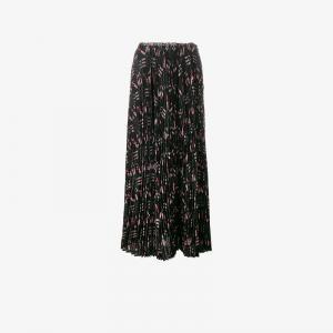 Плиссированная юбка с принтом Love Blade Valentino. Цвет: чёрный