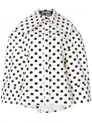 Свободная куртка в горох Jacquemus. Цвет: белый