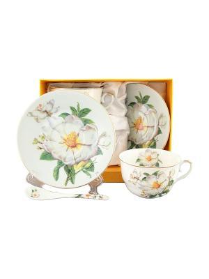 Чайная пара Белый шиповник Elan Gallery. Цвет: белый, зеленый