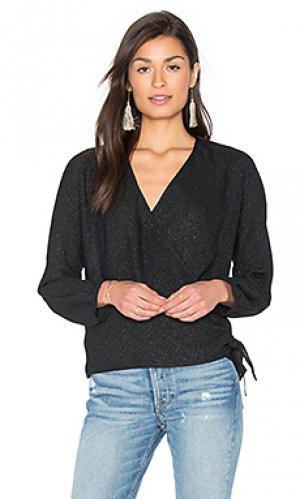 Блуза с запахом и длинным рукавом IKKS Paris. Цвет: черный