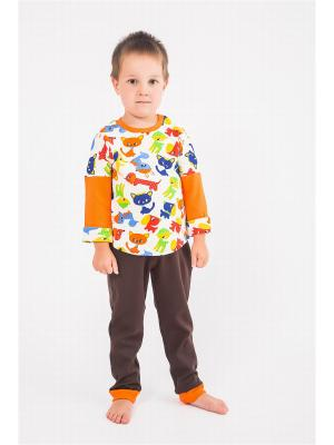 Пижама OSA Kids. Цвет: белый, коричневый, оранжевый