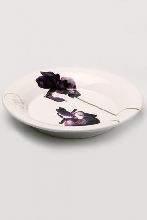 Тарелка Черный ирис Ceramiche Viva. Цвет: белый с рисунком