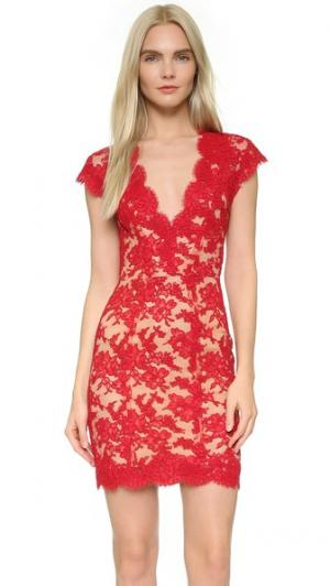 Кружевное коктейльное платье Reem Acra. Цвет: красный