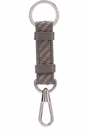 Кожаный брелок для ключей Ermenegildo Zegna. Цвет: коричневый