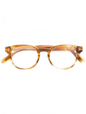 Очки в круглой оправе Tom Ford Eyewear. Цвет: жёлтый и оранжевый