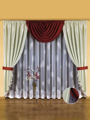 Комплект штор Wisan. Цвет: белый, бордовый, светло-серый