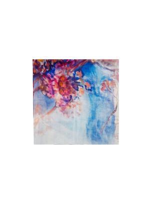 Платок Сухой букет на синем фоне, 90х90 см ArtNiva. Цвет: синий, красный