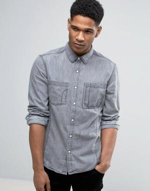 Esprit Узкая джинсовая рубашка с длинными рукавами. Цвет: серый
