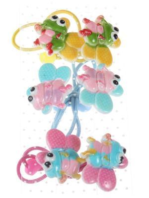 Резинки для волос с разноцветными пчелками, набор 6 штук Радужки. Цвет: голубой, розовый, желтый