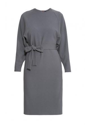 Платье из искусственного шелка и вискозы с поясом 176869 Cyrille Gassiline. Цвет: серый