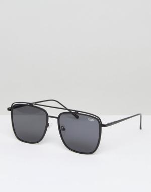 Quay Australia Черные солнцезащитные очки-авиаторы Mr Black. Цвет: черный