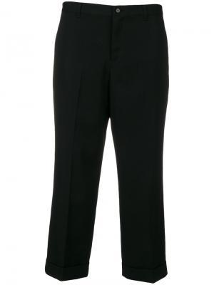 Укороченные строгие брюки Yohji Yamamoto. Цвет: чёрный