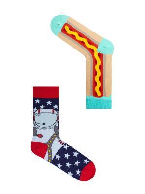 Набор Американская мечта (2 пары в упаковке), дизайнерские носки SOXshop. Цвет: синий, красный, салатовый