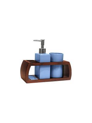 Набор для ванн из 3 предметов (подставка, дозатор, стакан) Blonder Home. Цвет: синий