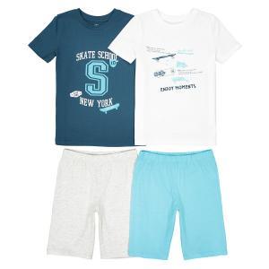 Пижама с шортами 3-12 лет (комплект из 2 изделий) La Redoute Collections. Цвет: синий/белый