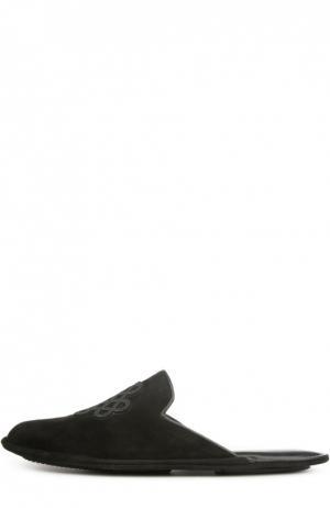 Замшевые домашние туфли с вышивкой Homers At Home. Цвет: черный