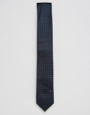 Calvin Klein Шелковый галстук с жаккардовым узором. Цвет: темно-синий