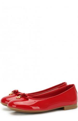 Лаковые балетки с бантами Dolce & Gabbana. Цвет: красный