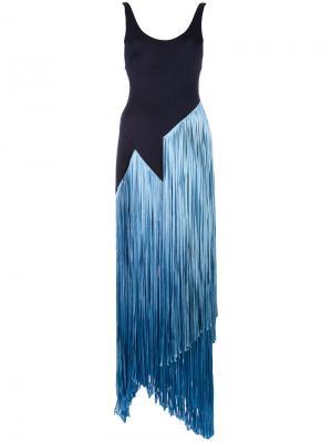 Платье с бахромой Carmen Galvan. Цвет: синий