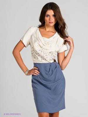 Платье Blue deep. Цвет: серый, кремовый
