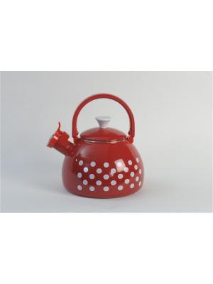 Чайник с бак. руч., со свистком 2,75 л METROT. Цвет: красный, белый