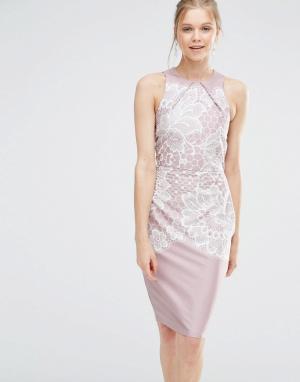 Closet London Облегающее платье с кружевным принтом. Цвет: мульти
