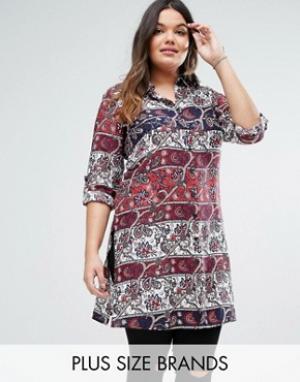 Diya Платье-рубашка Plus. Цвет: красный