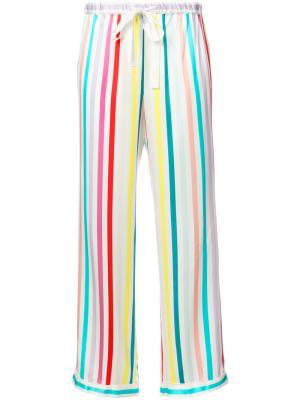 Пижамные брюки в полоску Morgan Lane. Цвет: белый
