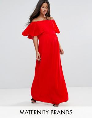 Queen Bee Платье макси с открытыми плечами и оборками Maternity. Цвет: красный