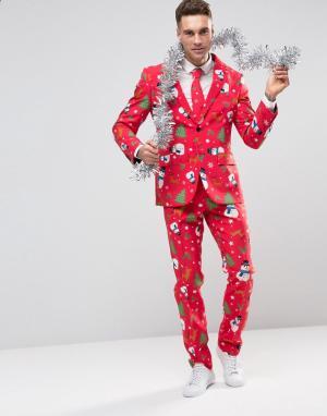 Oppo Suits Костюм слим и галстук в рождественском стиле OppoSuits. Цвет: красный