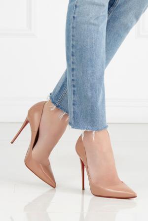 Туфли из лакированной кожи So Kate 120 Christian Louboutin. Цвет: бежевый
