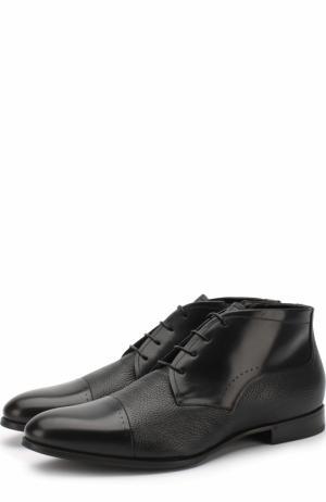 Кожаные ботинки на шнуровке с внутренней меховой отделкой Barrett. Цвет: черный