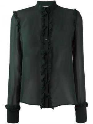 Прозрачная блузка с оборками Amen. Цвет: зелёный