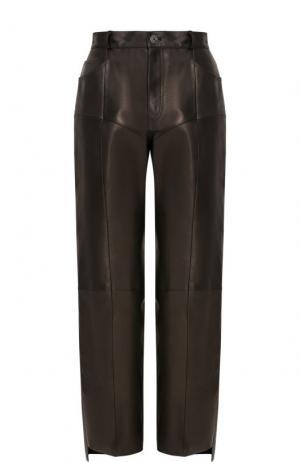 Укороченные кожаные брюки с карманами Vetements. Цвет: черный