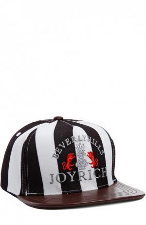 Кепка с вышивкой и кожаным козырьком Joyrich. Цвет: черный