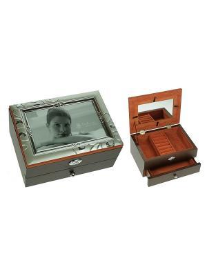 Шкатулка-фоторамка ювелирная MORETTO. Цвет: темно-коричневый