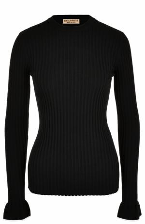 Пуловер фактурной вязки с круглым вырезом Emilio Pucci. Цвет: черный