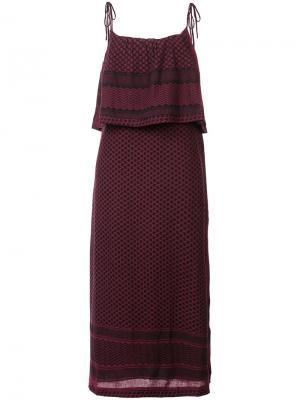 Платье-миди с оборками Cecilie Copenhagen. Цвет: красный