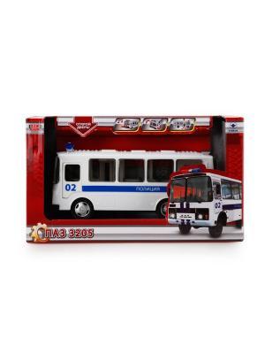 Автобус Технопарк пластмассовый, инерционный, свет, звук, открыв. двери ПАЗ. Полиция.. Цвет: синий,белый
